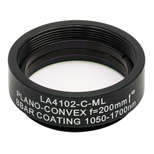 LA4102-C-ML - Ø1in UVFS Plano-Convex Lens, SM1-Threaded Mount, f = 200.0 mm, ARC: 1050 - 1700 nm