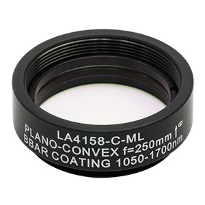 LA4158-C-ML - Ø1in UVFS Plano-Convex Lens, SM1-Threaded Mount, f = 250.0 mm, ARC: 1050 - 1700 nm
