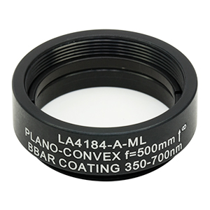 LA4184-A-ML - Ø1in UVFS Plano-Convex Lens, SM1-Threaded Mount, f = 500.0 mm, ARC: 350 - 700 nm
