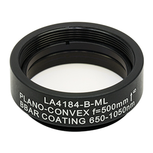 LA4184-B-ML - Ø1in UVFS Plano-Convex Lens, SM1-Threaded Mount, f = 500.0 mm, ARC: 650 - 1050 nm