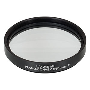 LA4246-ML - Ø75 mm UVFS Plano-Convex Lens, SM3-Threaded Mount, f = 500.0 mm, Uncoated
