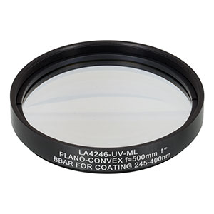 LA4246-UV-ML - Ø75 mm UVFS Plano-Convex Lens, SM3-Threaded Mount, f = 500.0 mm, ARC: 245-400 nm