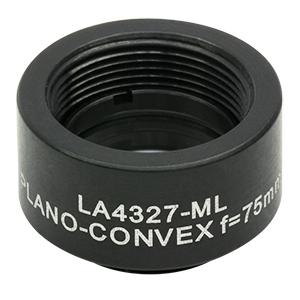LA4327-ML - Ø1/2in UVFS Plano-Convex Lens, SM05-Threaded Mount, f = 75.0 mm, Uncoated