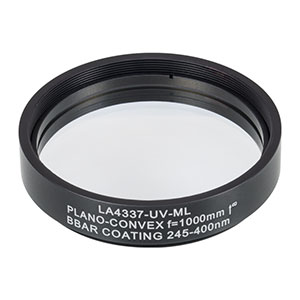 LA4337-UV-ML - Ø2in UVFS Plano-Convex Lens, SM2-Threaded Mount, f = 1000.0 mm, ARC: 245-400 nm