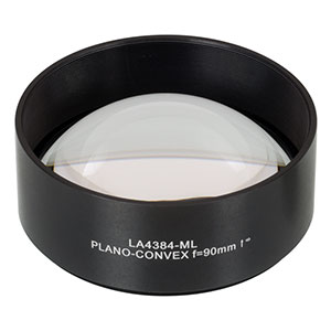 LA4384-ML - Ø75 mm UVFS Plano-Convex Lens, SM3-Threaded Mount, f = 90.0 mm, Uncoated