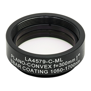 LA4579-C-ML - Ø1in UVFS Plano-Convex Lens, SM1-Threaded Mount, f = 300.0 mm, ARC: 1050 - 1700 nm