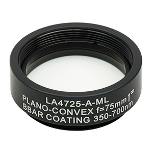 LA4725-A-ML - Ø1in UVFS Plano-Convex Lens, SM1-Threaded Mount, f = 75.0 mm, ARC: 350 - 700 nm