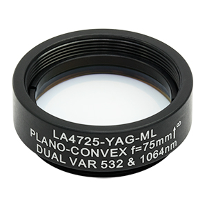 LA4725-YAG-ML - Ø1in UVFS Plano-Convex Lens, SM1-Threaded Mount, f = 75.0 mm, 532/1064 nm V-Coat