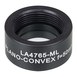 LA4765-ML - Ø1/2in UVFS Plano-Convex Lens, SM05-Threaded Mount, f = 50.0 mm, Uncoated