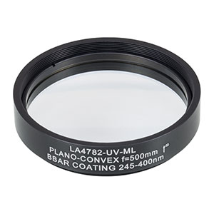 LA4782-UV-ML - Ø2in UVFS Plano-Convex Lens, SM2-Threaded Mount, f = 500.0 mm, ARC: 245-400 nm
