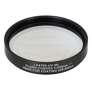 LA4795-UV-ML - Ø75 mm UVFS Plano-Convex Lens, SM3-Threaded Mount, f = 200.0 mm, ARC: 245-400 nm