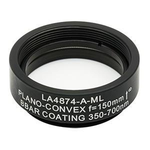 LA4874-A-ML - Ø1in UVFS Plano-Convex Lens, SM1-Threaded Mount, f = 150.0 mm, ARC: 350 - 700 nm