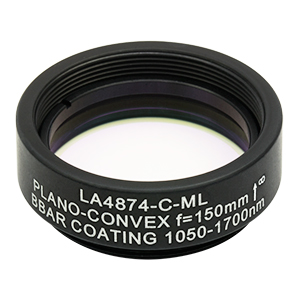 LA4874-C-ML - Ø1in UVFS Plano-Convex Lens, SM1-Threaded Mount,  f = 150.0 mm, ARC: 1050 - 1700 nm