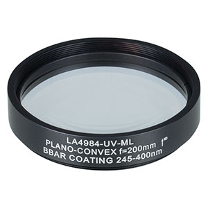 LA4984-UV-ML - Ø2in UVFS Plano-Convex Lens, SM2-Threaded Mount, f = 200.0 mm, ARC: 245-400 nm