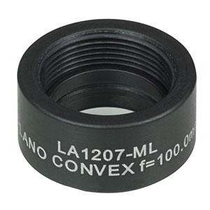 LA1207-ML - Ø1/2in N-BK7 Plano-Convex Lens, SM05-Threaded Mount, f = 100 mm, Uncoated