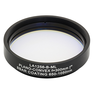 LA1256-B-ML - Ø2in N-BK7 Plano-Convex Lens, SM2-Threaded Mount, f = 300 mm, ARC: 650-1050 nm