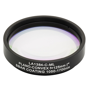 LA1384-C-ML - Ø2in N-BK7 Plano-Convex Lens, SM2-Threaded Mount, f = 125 mm, ARC: 1050-1700 nm