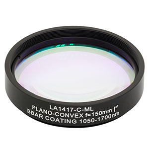 LA1417-C-ML - Ø2in N-BK7 Plano-Convex Lens, SM2-Threaded Mount, f = 150 mm, ARC: 1050-1700 nm