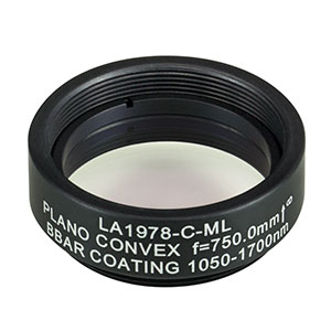LA1978-C-ML - Ø1in N-BK7 Plano-Convex Lens, SM1-Threaded Mount, f = 750 mm, ARC: 1050-1700 nm