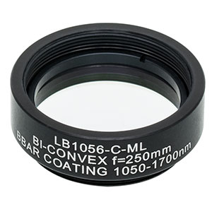 LB1056-C-ML - Mounted N-BK7 Bi-Convex Lens, Ø1in, f = 250.0 mm, ARC: 1050 - 1700 nm