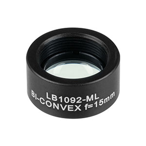 LB1092-ML - Mounted N-BK7 Bi-Convex Lens, Ø1/2in, f = 15.0 mm, Uncoated