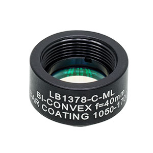 LB1378-C-ML - Mounted N-BK7 Bi-Convex Lens, Ø1/2in, f = 40.0 mm, ARC: 1050 - 1700 nm