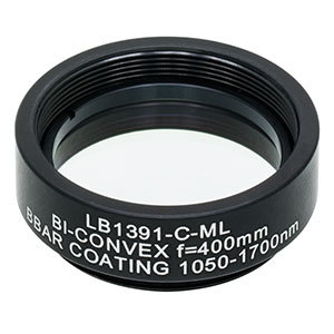 LB1391-C-ML - Mounted N-BK7 Bi-Convex Lens, Ø1in, f = 400.0 mm, ARC: 1050 - 1700 nm