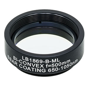 LB1869-B-ML - Mounted N-BK7 Bi-Convex Lens, Ø1in, f = 500.0 mm, ARC: 650-1050 nm