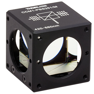 CCM1-PBS251/M - 30 mm Cage Cube-Mounted Polarizing Beamsplitter Cube, 420-680 nm, M4 Tap