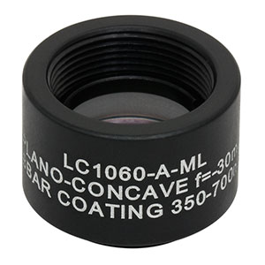 LC1060-A-ML - Ø1/2in N-BK7 Plano-Concave Lens, SM05-Threaded Mount, f = -30.0 mm, ARC: 350-700 nm