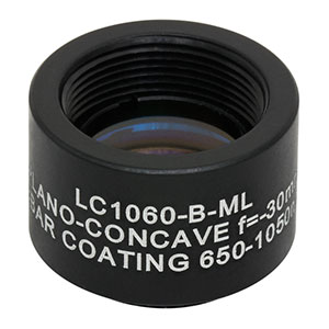 LC1060-B-ML - Ø1/2in N-BK7 Plano-Concave Lens, SM05-Threaded Mount, f = -30.0 mm, ARC: 650-1050 nm