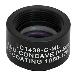LC1439-C-ML - Ø1/2in N-BK7 Plano-Concave Lens, SM05-Threaded Mount, f = -50.0 mm, ARC: 1050-1700 nm