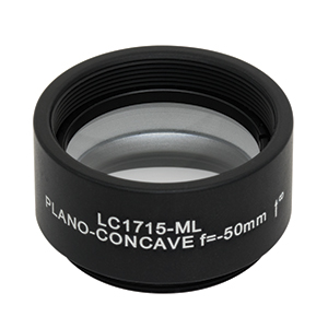 LC1715-ML - Ø1in N-BK7 Plano-Concave Lens, SM1-Threaded Mount, f = -50.0 mm, Uncoated
