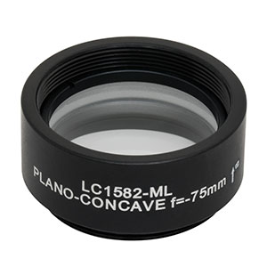LC1582-ML - Ø1in N-BK7 Plano-Concave Lens, SM1-Threaded Mount, f = -75 mm, Uncoated