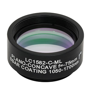 LC1582-C-ML - Ø1in N-BK7 Plano-Concave Lens, SM1-Threaded Mount, f = -75 mm, ARC: 1050-1700 nm