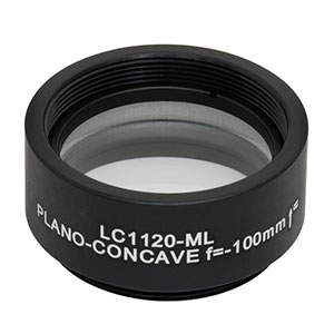 LC1120-ML - Ø1in N-BK7 Plano-Concave Lens, SM1-Threaded Mount, f = -100 mm, Uncoated