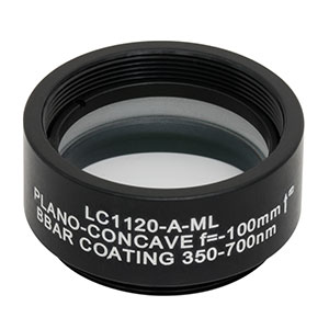 LC1120-A-ML - Ø1in N-BK7 Plano-Concave Lens, SM1-Threaded Mount, f = -100 mm, ARC: 350-700 nm