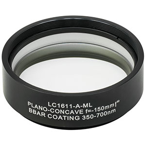 LC1611-A-ML - Ø2in N-BK7 Plano-Concave Lens, SM2-Threaded Mount, f = -150 mm, ARC: 350-700 nm