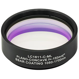 LC1611-C-ML - Ø2in N-BK7 Plano-Concave Lens, SM2-Threaded Mount, f = -150 mm, ARC: 1050-1700 nm