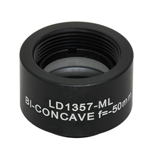 LD1357-ML - Ø1/2in N-BK7 Bi-Concave Lens, SM05-Mounted, f =-50 mm, Uncoated