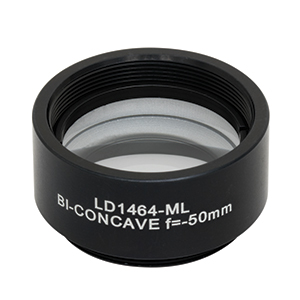 LD1464-ML - Ø1in N-BK7 Bi-Concave Lens, SM1-Mounted, f =-50 mm, Uncoated