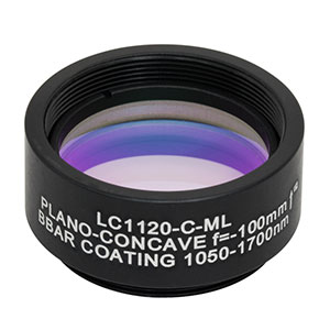 LC1120-C-ML - Ø1in N-BK7 Plano-Concave Lens, SM1-Threaded Mount, f = -100 mm, ARC: 1050-1700 nm