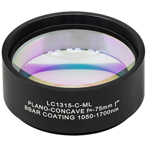 LC1315-C-ML - Ø2in N-BK7 Plano-Concave Lens, SM2-Threaded Mount, f = -75 mm, ARC: 1050-1700 nm