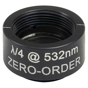 WPQSM05-532 - Ø1/2in Zero-Order Quarter-Wave Plate, SM05-Threaded Mount, 532 nm