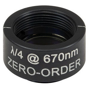 WPQSM05-670 - Ø1/2in Zero-Order Quarter-Wave Plate, SM05-Threaded Mount, 670 nm