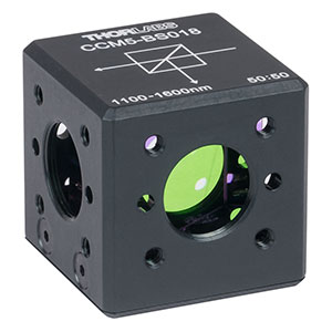 CCM5-BS018 - 16 mm Cage Cube-Mounted Non-Polarizing Beamsplitter, 1100 - 1600 nm, 8-32 Tap