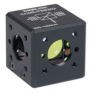 CCM5-PBS203 - 16 mm Cage-Cube-Mounted Polarizing Beamsplitter Cube, 900-1300 nm, 8-32 Tap