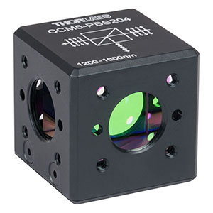 CCM5-PBS204 - 16 mm Cage-Cube-Mounted Polarizing Beamsplitter Cube, 1200-1600 nm, 8-32 Tap
