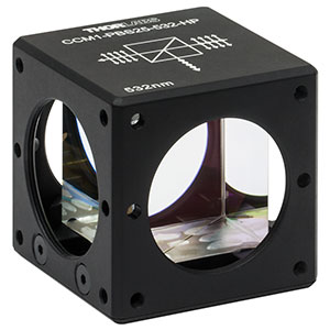 CCM1-PBS25-532-HP - 30 mm Cage-Cube-Mounted, High-Power, Polarizing Beamsplitter Cube, 532 nm, 8-32 Tap