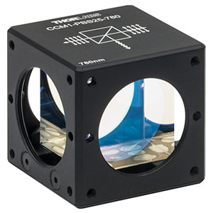 CCM1-PBS25-780-HP - 30 mm Cage-Cube-Mounted, High-Power, Polarizing Beamsplitter Cube, 780 - 808 nm, 8-32 Tap